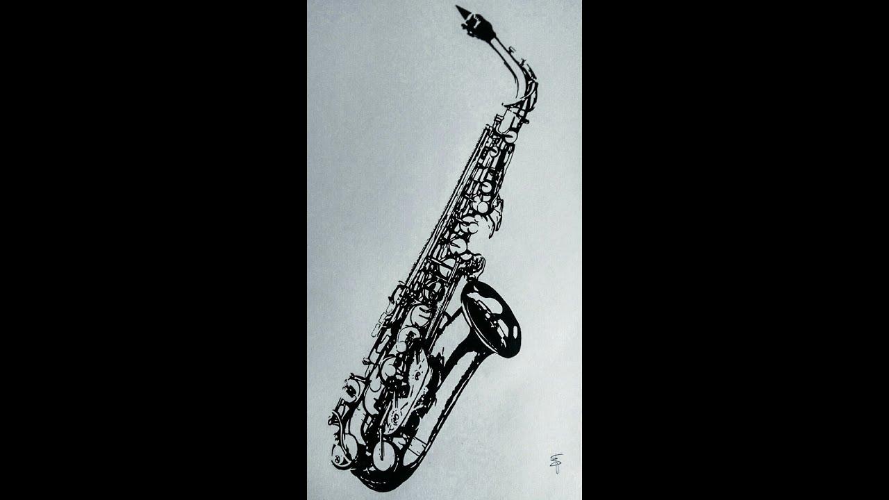 speed drawing alto saxophone em designer
