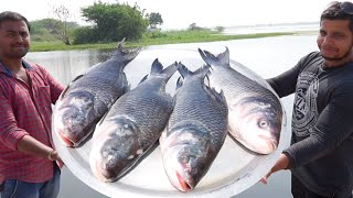50 POUND BIG FISH DEEP FRY || 4 FRESH FISHES FRYING IN A BIG PAN IN WILD