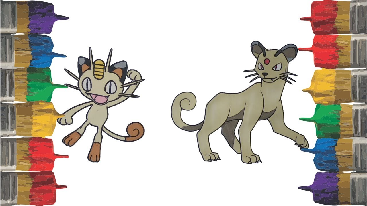 Pokemon Coloring Pages For Kids Meowth And Persian