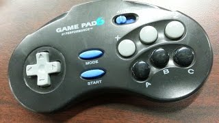 Classic Game Room - SEGA GENESIS GAME PAD 6 by PERFORMANCE controller review