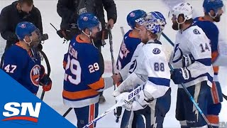 New York Islanders And Tampa Bay Lightning Shake Hands After Eastern Conference Final