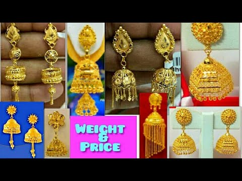 Latest gold jhumka designs with weight and price    fancy jhumka & earrings designs with price