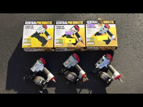 Comparison of 3 Harbor Freight Central Pneumatic Roofing Nailers