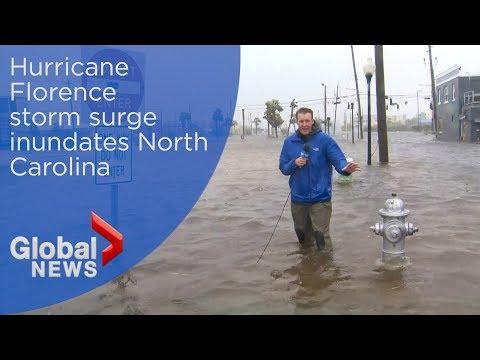 Hurricane Florence inundates North Carolina with  flooding from storm surge
