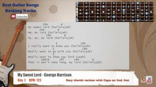 My Sweet Lord - George Harrison (Low Guitar Background) Backing Track with scale, chords and lyrics