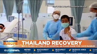 Thailand Recovery: boys filmed sitting up in hospital as plans made for cave museum