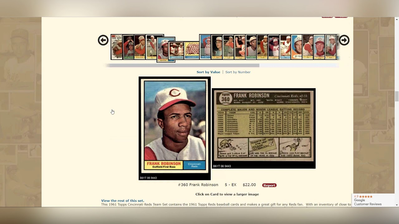 How To View Vintage Baseball Card Sets On Deanscardscom