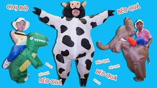 Bé Bún Biến Thành Bò Sữa – Bé Bắp Biến Thành Khủng Long – Bố Thành Con Voi | Trang Phục Động Vật