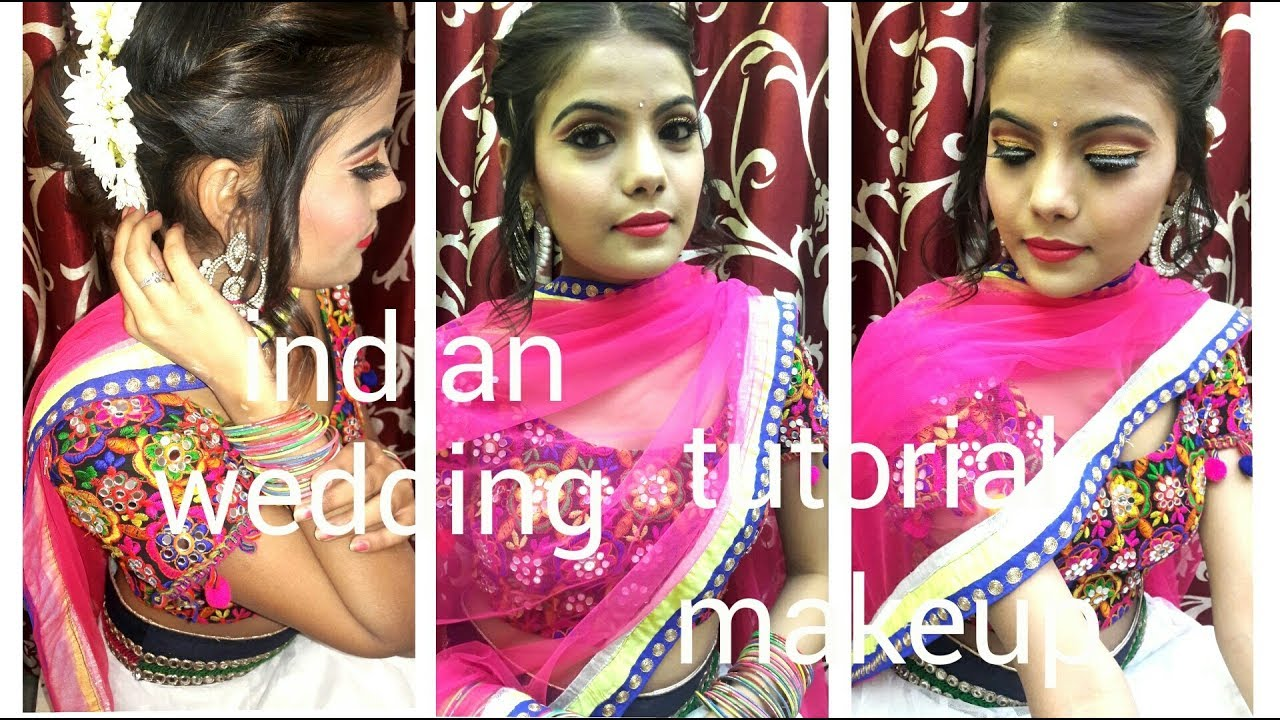 Indian wedding guest makeup tutorial ||Glitter eyes|| style with me ...