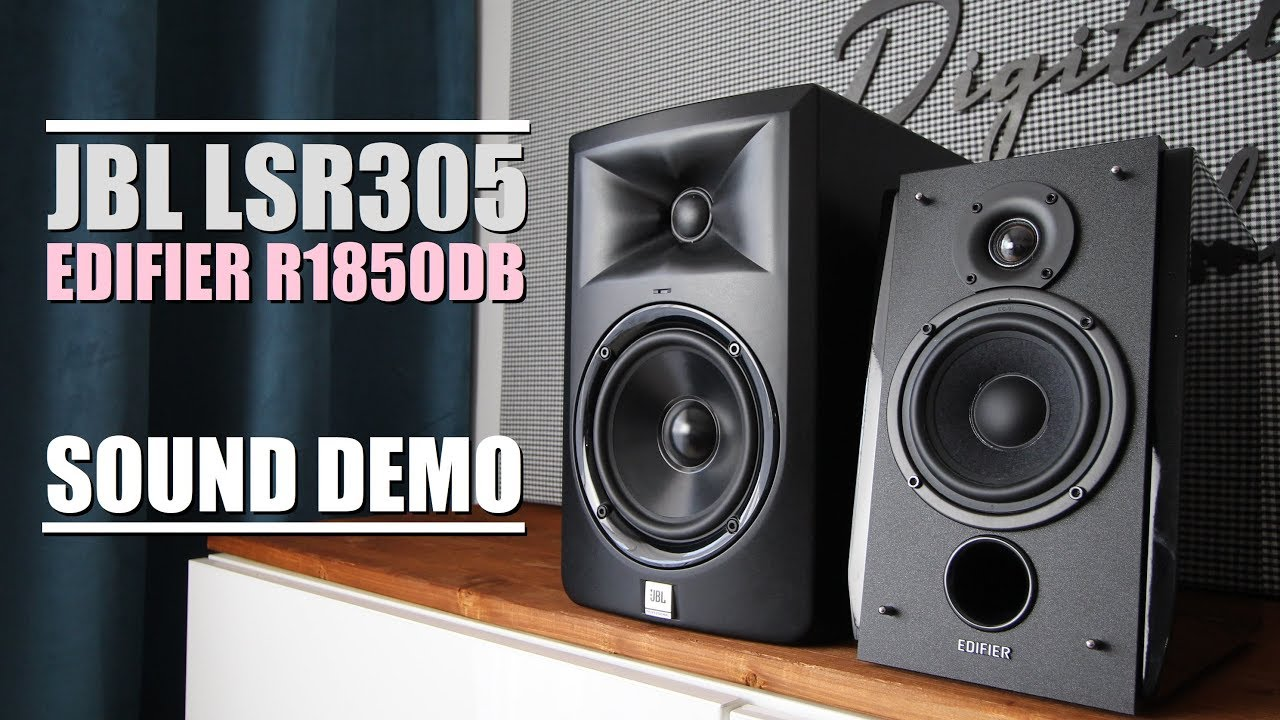 Edifier R1850DB vs JBL LSR305  ||  Sound Demo w/ Bass Test