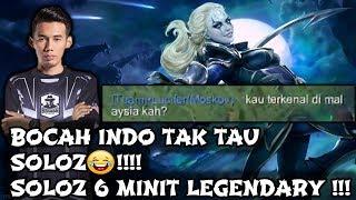 Bocah Indo Tak Tau Soloz😂!!! Soloz 6 Minit Legendary Guna Hero ini !!! Mobile Legends