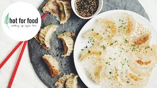VEGAN CHINESE POTSTICKERS WITH A LACY SKIRT | hot for food