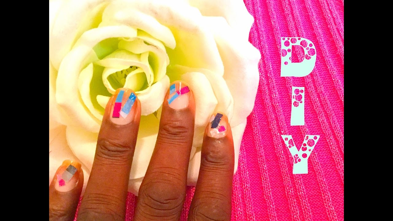 DIY | Color Collage Nail Design Using Toilet Paper Wrap - YouTube