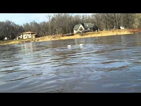 Driving the Jon Boat in and over Ice on the Mississippi River