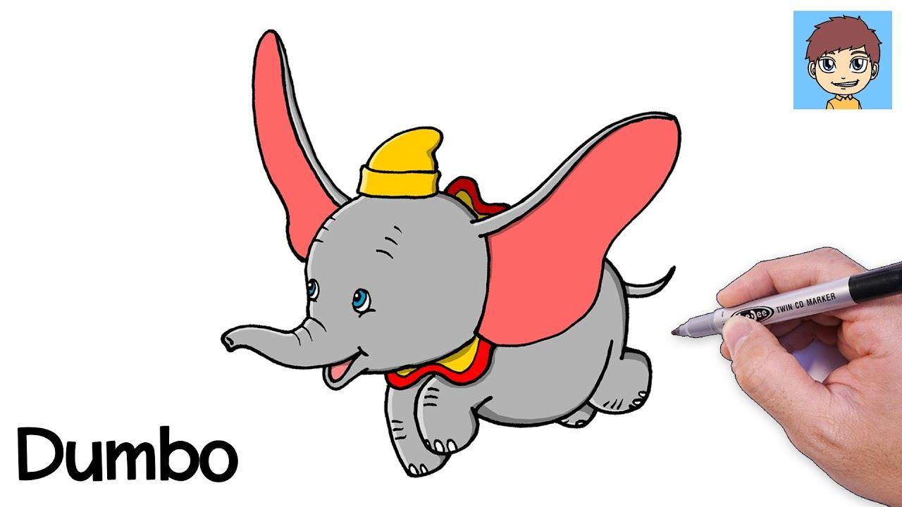 Comment Dessiner DUMBO Facilement - Dessin Facile a Faire - Dessin de Dumbo