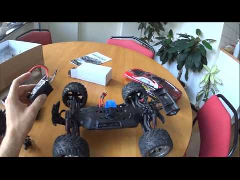 9116 1/12 brushed RC Monster truck Review and test drive on 4S Li-lon!