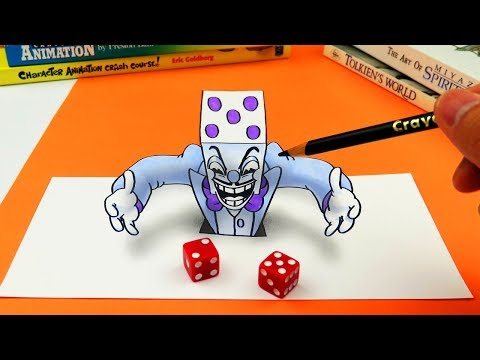 King Dice 3D Optical Illusion on Paper Trick