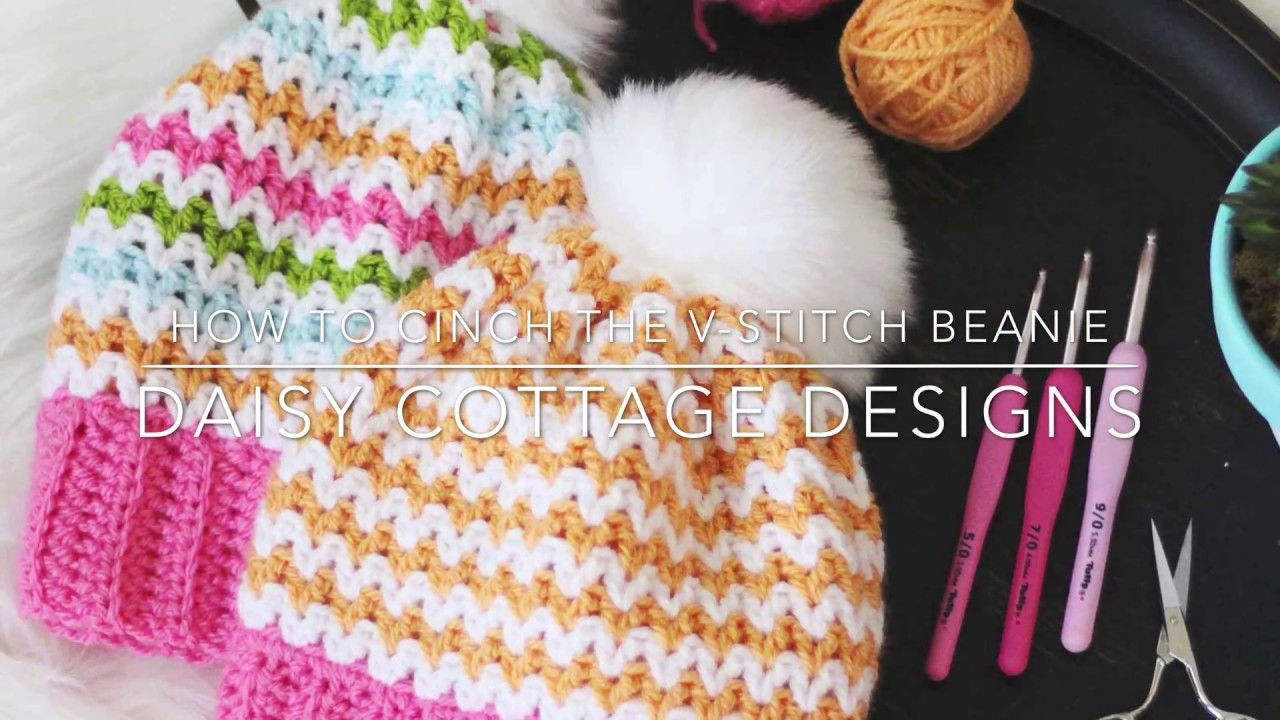 How to Cinch the V-stitch Beanie - YouTube 006d79e92f4