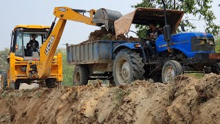 JCB Backhoe Machine Loading Mud in Tractor - JCB Machine Widening Village Road