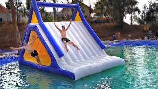 BACKYARD floating WATERPARK inside of POND! *Mega Slip N Slide*