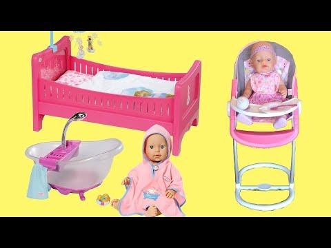 Baby Born Highchair , Bathtub & Doll Bed * Play Baby Doll Nursery Toys