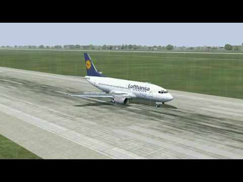 HD - Lufthansa 737 Landing at  Dusseldorf in very bad weather