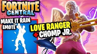 MAKE IT RAIN Emote! + Love Ranger Skin & Chomp JR. (Gameplay) // FORTNITE