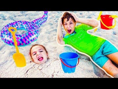 ЧЕЛЛЕНДЖ Кто Лучше Плавает? Камиль и Аминка ИГРАЮТ на Пляже! Влог от Кикидо!