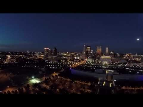Columbus Ohio skyline from above at dusk