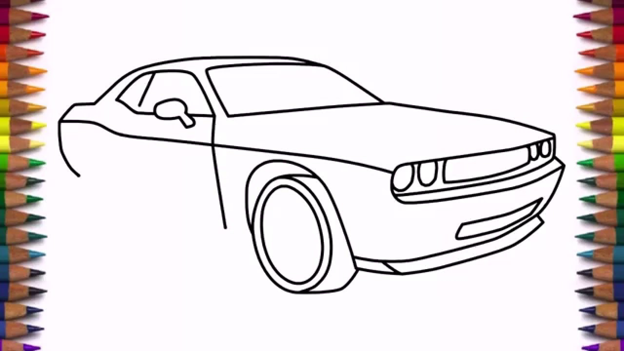 How To Draw Dodge Challenger Rt 2011 Car Step By Step Easy