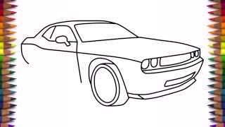 How to draw Dodge Challenger Rt 2011 car step by step easy drawing for kids and beginners