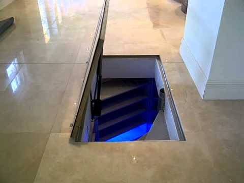 Motorised Glass Cellar Door Final Test Youtube