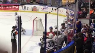Jake Dotchin (Syracuse Crunch) smacking Andrew Neilsen (Toronto Marlies)