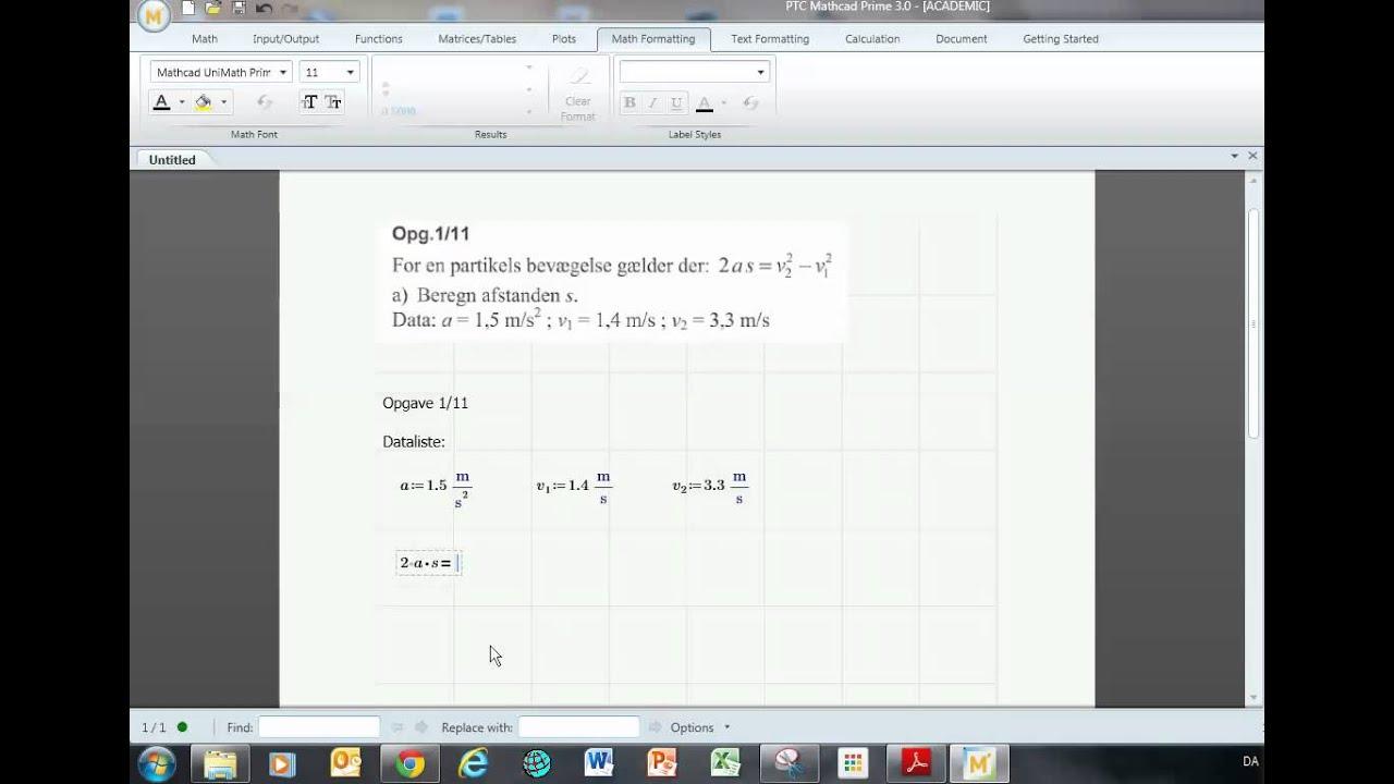 Fysik B med Mathcad Prime   Opgave 1 11
