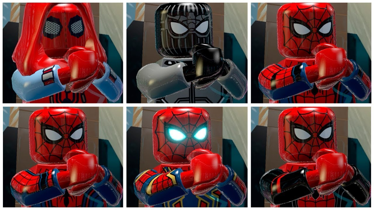 All SPIDER-MAN MCU Suits in LEGO Marvel Super Heroes Cutscene