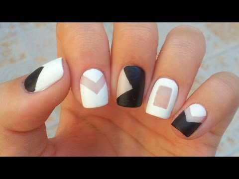 Negative Space Black and White Nail Art