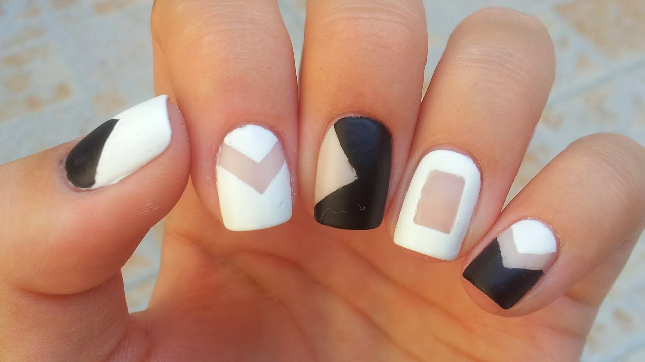 Negative Space Nail Art | Black and White - YouTube