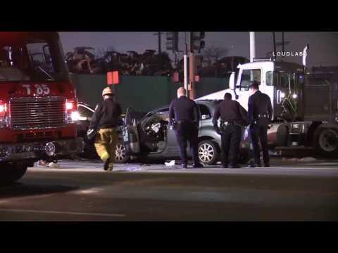 Car vs Semi Traffic Collision / Wilmington  RAW FOOTAGE