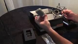 Unboxing of Neumann TLM 102 studio set: microphone and shock mount