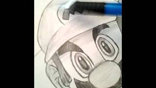 Drawing of Super Mario Fiery