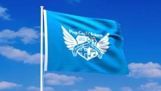 フラップガールズスクールの旗が風になびく動画。 アニメーションGIF、...