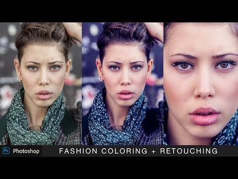 Fashion Coloring and Retouching Portrait in Photoshop - Cinematic Color Grading Photo Effects