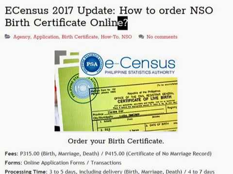 ECensus 2017 Update: How to order NSO Birth Certificate Online