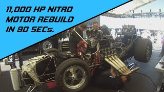 NITRO FUNNY CAR --- Rebuild 11,000HP NITRO MOTOR in 90 seconds!