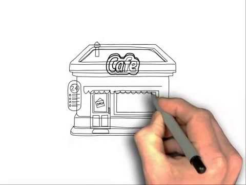 How To Draw A Cafe - YouTube