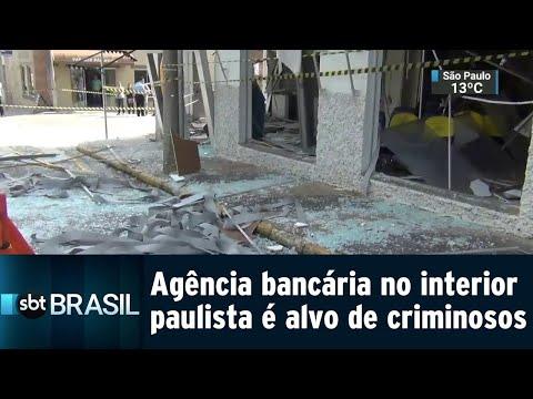 Agência bancária no interior paulista é alvo de criminosos | SBT Brasil (15/08/18)