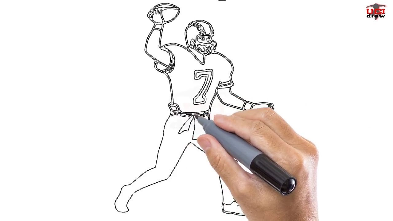 How To Draw A Football Player Easy Step By Step Drawing Tutorials For Kids Ucidraw Youtube