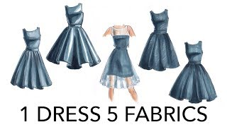 Fashion Illustration Tutorial: 1 Dress, 5 Fabrications (+2 Bonus Renderings!)