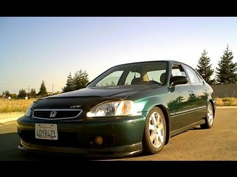 1999 Honda Civic Sedan DX with Si Rims, Magnaflow Exhaust & Beaks lower tiebar(Full Walkaround)