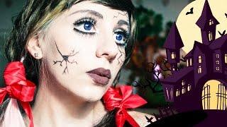 Макияж на Хэллоуин Разбитая фарфоровая кукла Cracked Doll Makeup Tutorial Creepy Doll